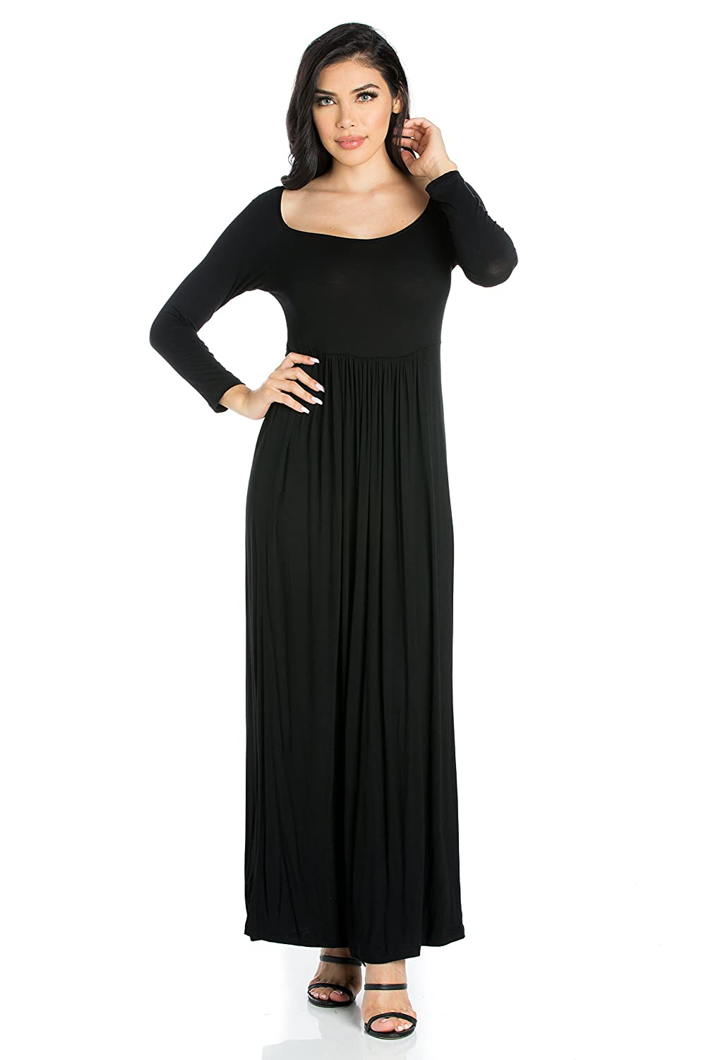 d87771d27ce 24seven Comfort Apparel Women s Clothes Long Sleeve Empire Waist Square  Neck Maxi Dress - Made in USA - (Sizes S-1XL) at Amazon Women s Clothing  store