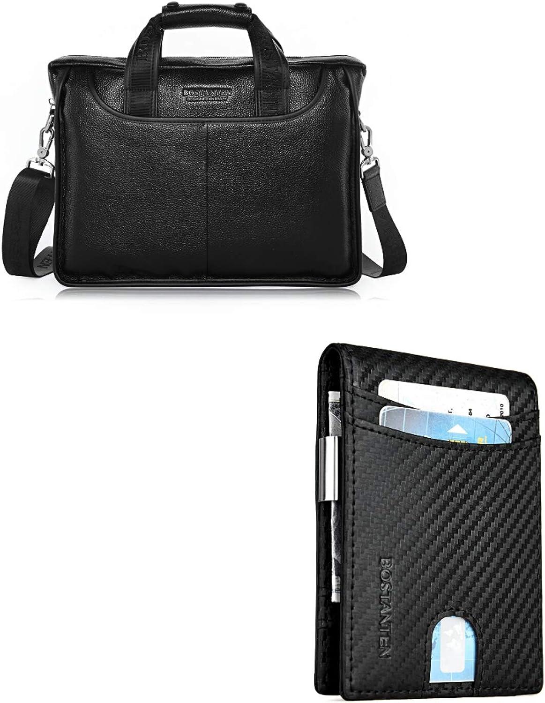 BOSTANTEN Leather Lawyers Briefcase Laptop Messenger Business Bags for Men Black+BOSTANTEN Leather Wallets for Men Bifold Money Clip Slim Front Pocket RFID Blocking Card Holder Black
