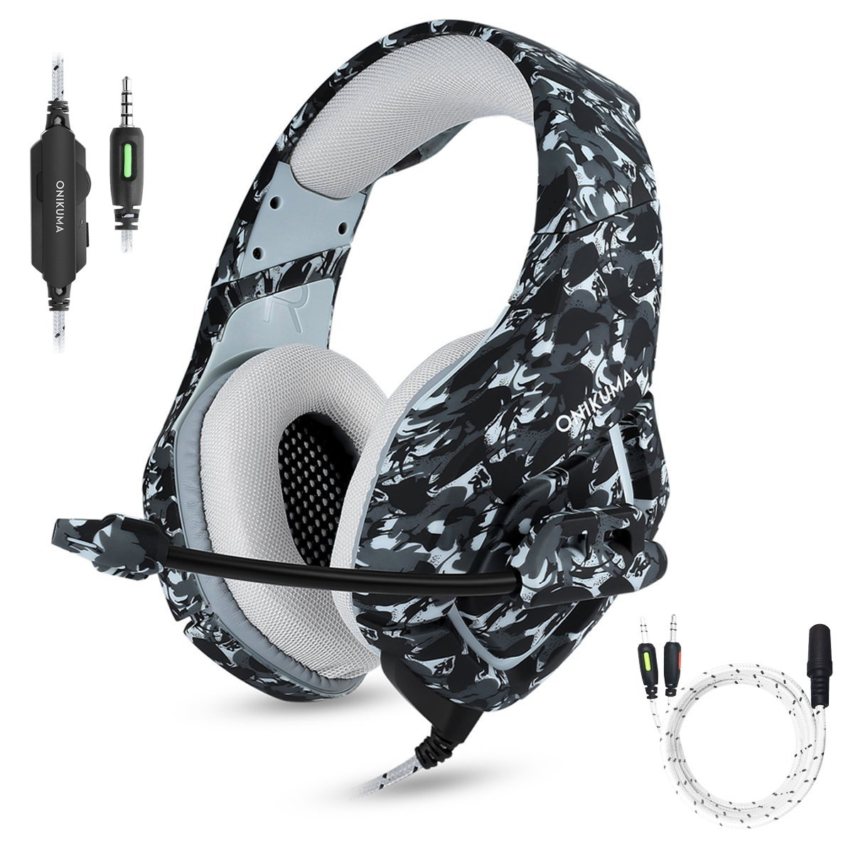 Gaming Headset with Microphone for PS4 PC Xbox One, Stereo Over Ear Gamer Headphones with Mic Noise Cancelling for Laptop, Mac, Smart Phones, Nintendo Switch, Playstation 4 - Camo by AIGEL