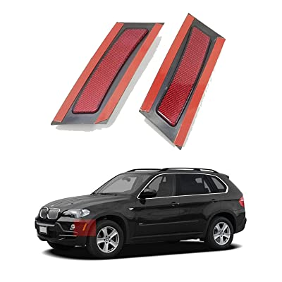 Crystal Clear/Smoke/Amber/Dark Grey/Red Lens Front Bumper Side Marker Reflector Light Fender Replacement for 2007-2010 BMW X5 E70 Pre-LCI (Red Lens): Automotive