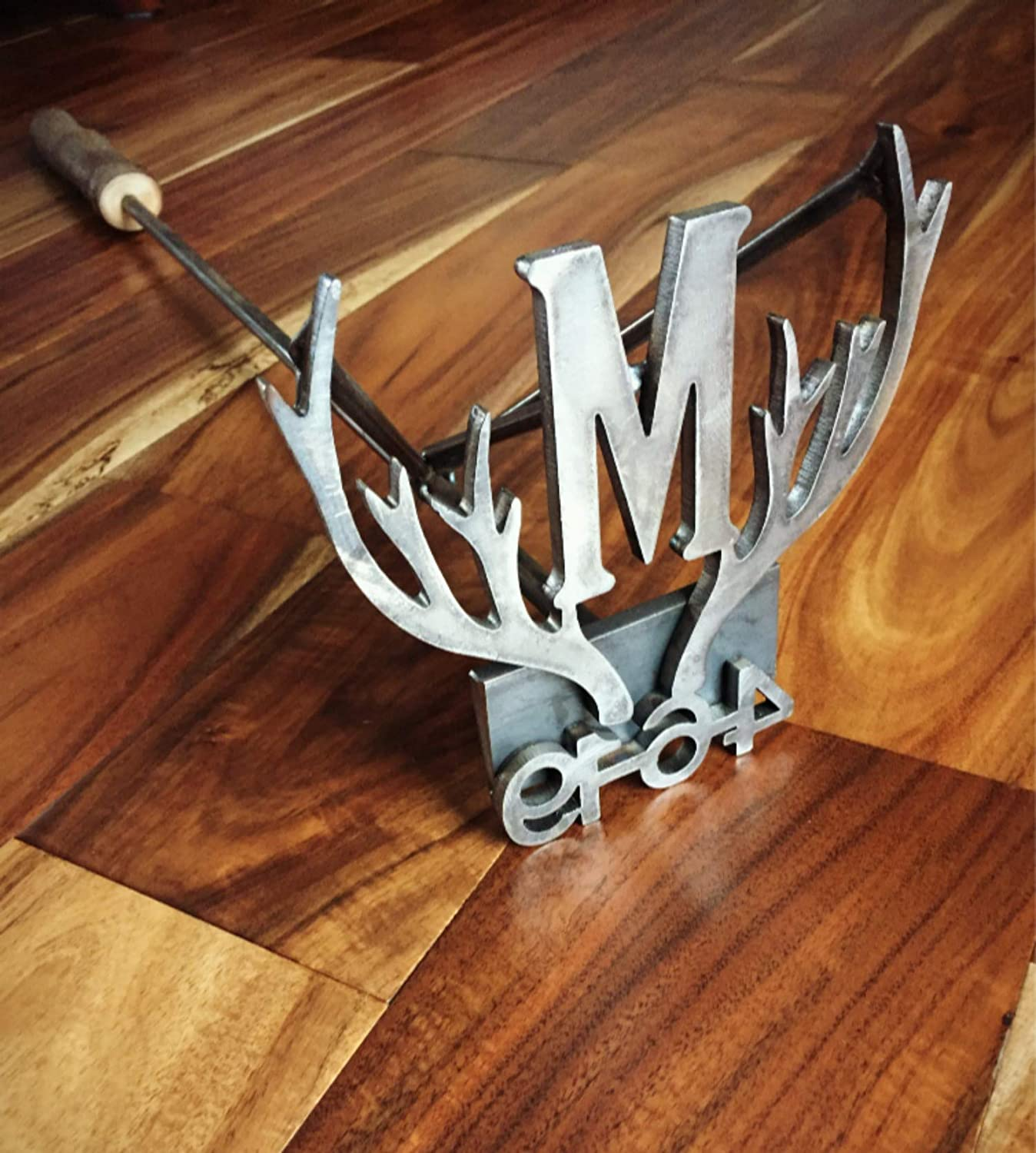 Custom Branding Iron with Antlers, Date, and Initial - Wedding Brander, Anniversary Gift