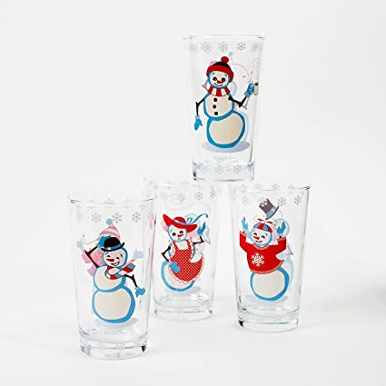 snowman drinking glasses set of 4 vintage style 1950s art christmas new - Christmas Drinking Glasses