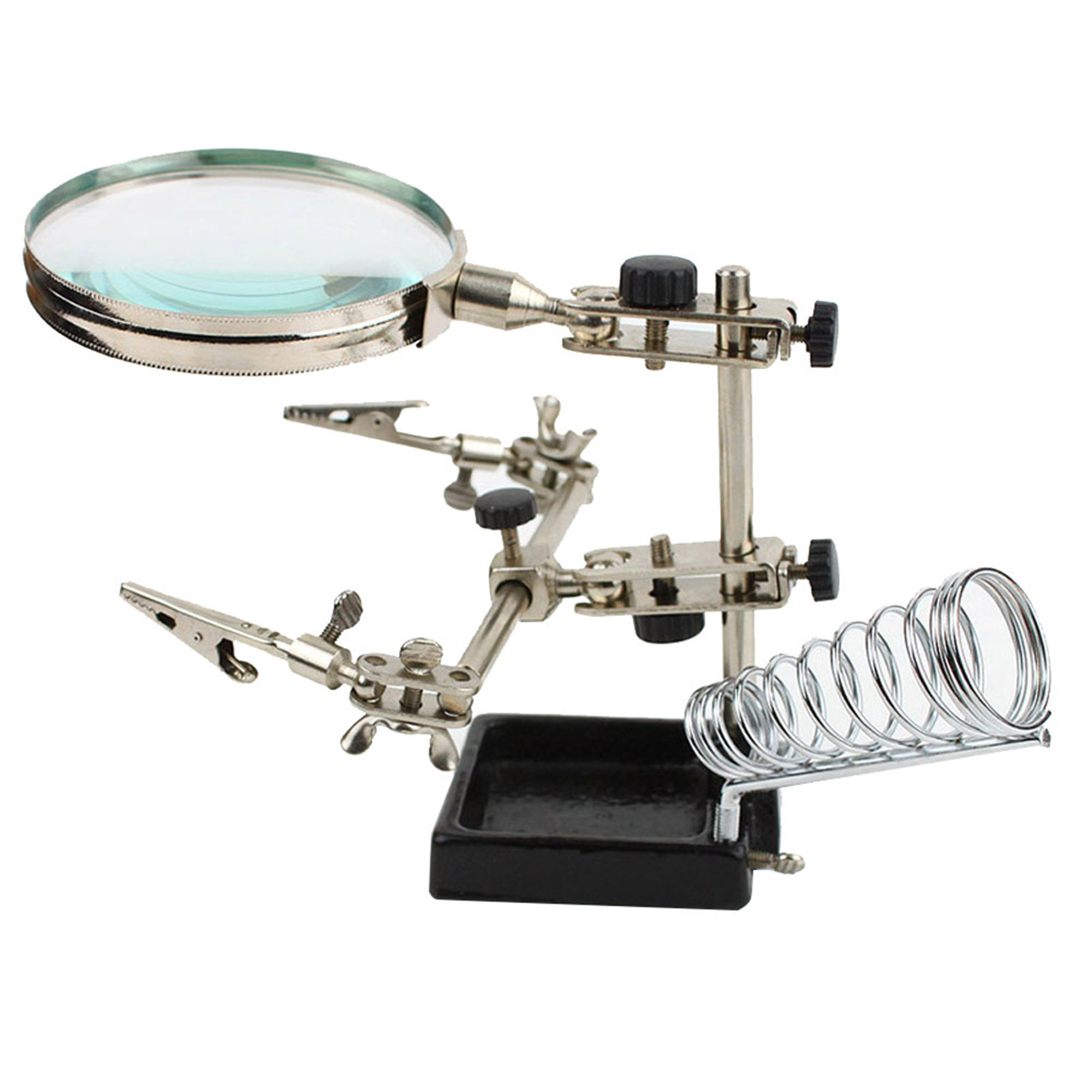 SANNYSIS University School Magnifier Auxiliary Clamp welding Soldering Stand Desktop Magnifying Glass