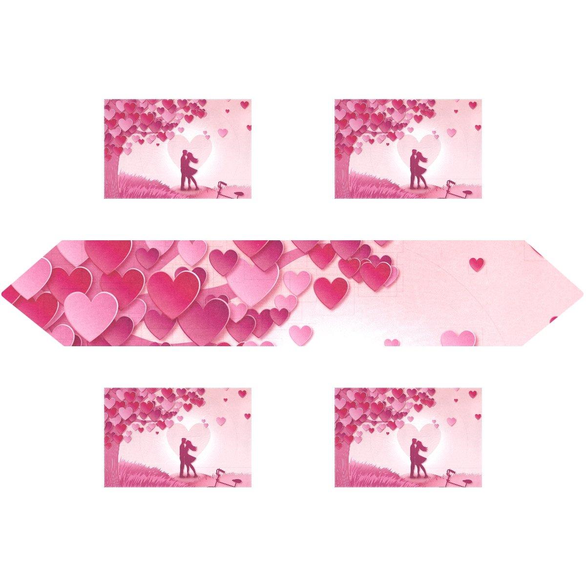 Happy Valentine 's Day長方形テーブルランナー13 x 70インチwithプレースマットテーブルマット12 x 18インチの4のセット、結婚式、パーティー、ディナー、夏&ピクニックの国アウトドアホーム装飾、 13x70(in) & 12x18x6(in) ホワイト g2463676p172c202s301 13x70(in) & 12x18x6(in)  B0792SY6FR