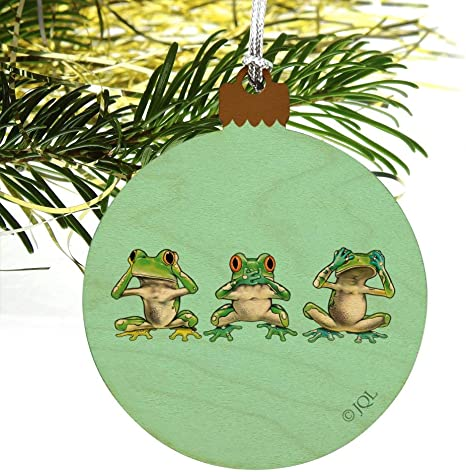 Details about  /See No Evil Hear Speak Tropical Tropics Wood Christmas Tree Ornament