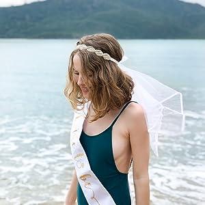 xo, Fetti Bachelorette Party Veil - Crystal Boho Crown | Bridal Shower Veil | Bride to Be Gift, Bachelorette Favor + Engagement Decoration
