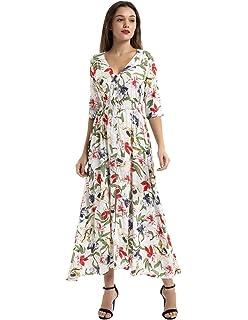 ee9a8e5db8d Kate Kasin Women s Summer Floral Button up Split Flowy Party Maxi Dress  KK652