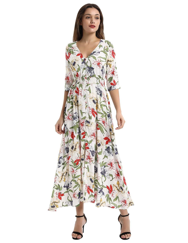 d4691fdddea Kate Kasin Women s Summer Floral Button up Split Flowy Party Maxi Dress  KK652 at Amazon Women s Clothing store
