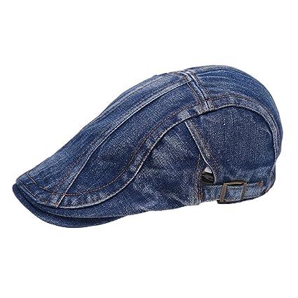 68df149c3555 Men Vintage Denim Jean Newsboy Hat Cap Flat Cap Gatsby Ivy Caps Irish  Hunting Hat Deep Blue: Amazon.co.uk: Kitchen & Home