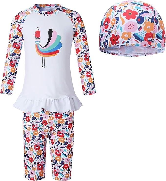Vivobiniya Girl Rash Guard Sets Kids Swimsuits Long Sleeve upf50+uv 3-8y