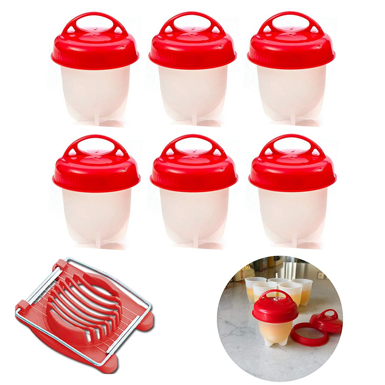 Granerud Silicone Egg Cooker, Hard Boiled Eggs Without Shell, 6 Egg Cups In Silicone Egg Slicer Included – Perfect A Quick Easy Egg Meal. Hard boiled egg maker all egg sizes!