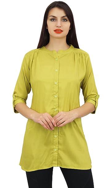 Phagun Amarillo de Verano de Algodón Modal Top de la Camisa de la Túnica con Apertura