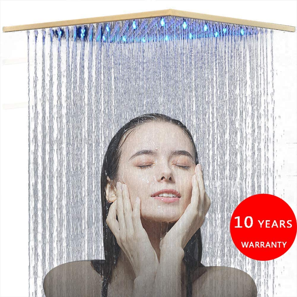 FUZ 16 Inch LED Gold Square Rainfall Shower Head High Pressure Waterfall Solid Brass Silicon Nozzles Adjustable Fixed Shower Head,Brushed Gold