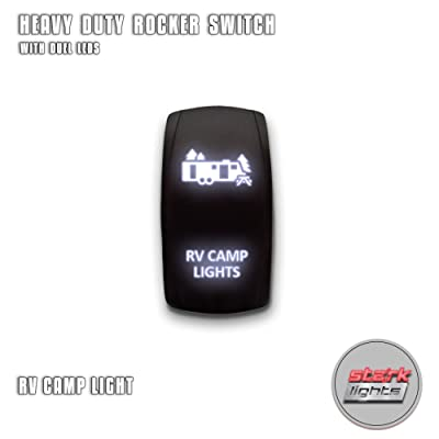 RV CAMP LIGHTS - White - STARK 5-PIN Laser Etched LED Rocker Switch Dual Light - 20A 12V ON/OFF: Automotive