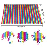 Outuxed 2 Sheets 12 x 20 Inches Rainbow Holographic