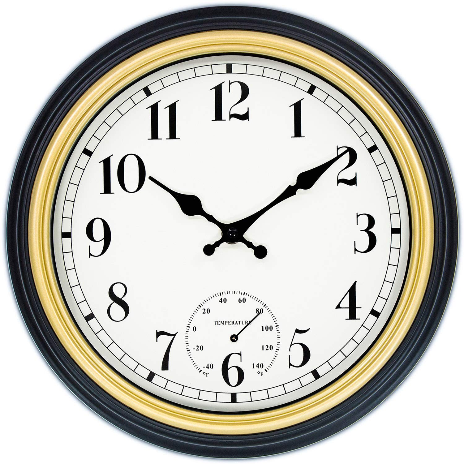 45Min 12 Inch Retro Wall Clock with Thermometer Silver Silent Non Ticking Round Home Decor Wall Clock with Arabic Numerals