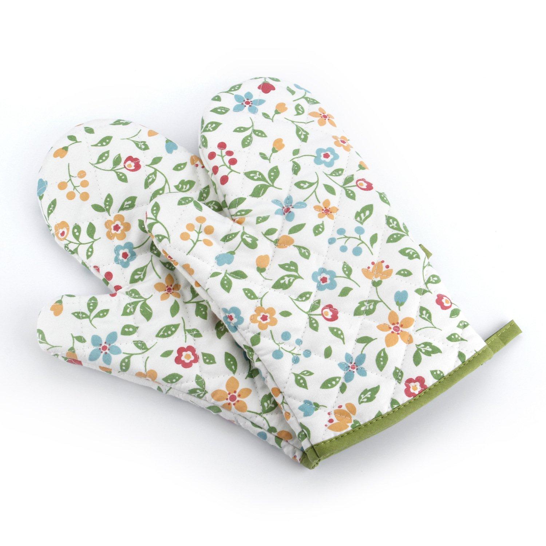 MiCoolker Cute Floral Flower Fruit Cotton Oven Mitt Cooking Mitts Pot Holder Potholder Heat Resistant Mitt, Set of 2