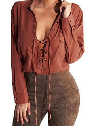 a8b41ba547 Image Unavailable. Image not available for. Color  Women Lace Up Shirt