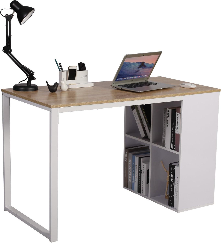 WOLTU Mesa Escritorio de Computadora Mesa de Oficina Mesa de Ordenador Portátil con 4 Estantes, Estructura de Acero 120x60x75cm Roble TSG26hei