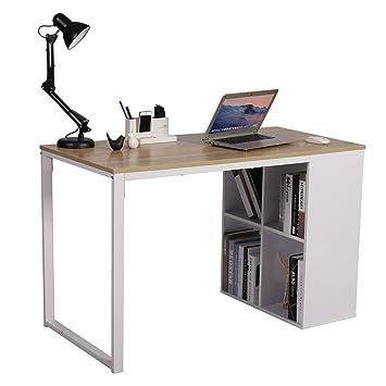 Tavolo Da Studio.Woltu Tsg26hei Scrivania Per Computer Postazioni Di Lavoro Tavolo Da Studio Con Libreria In Acciaio Legno