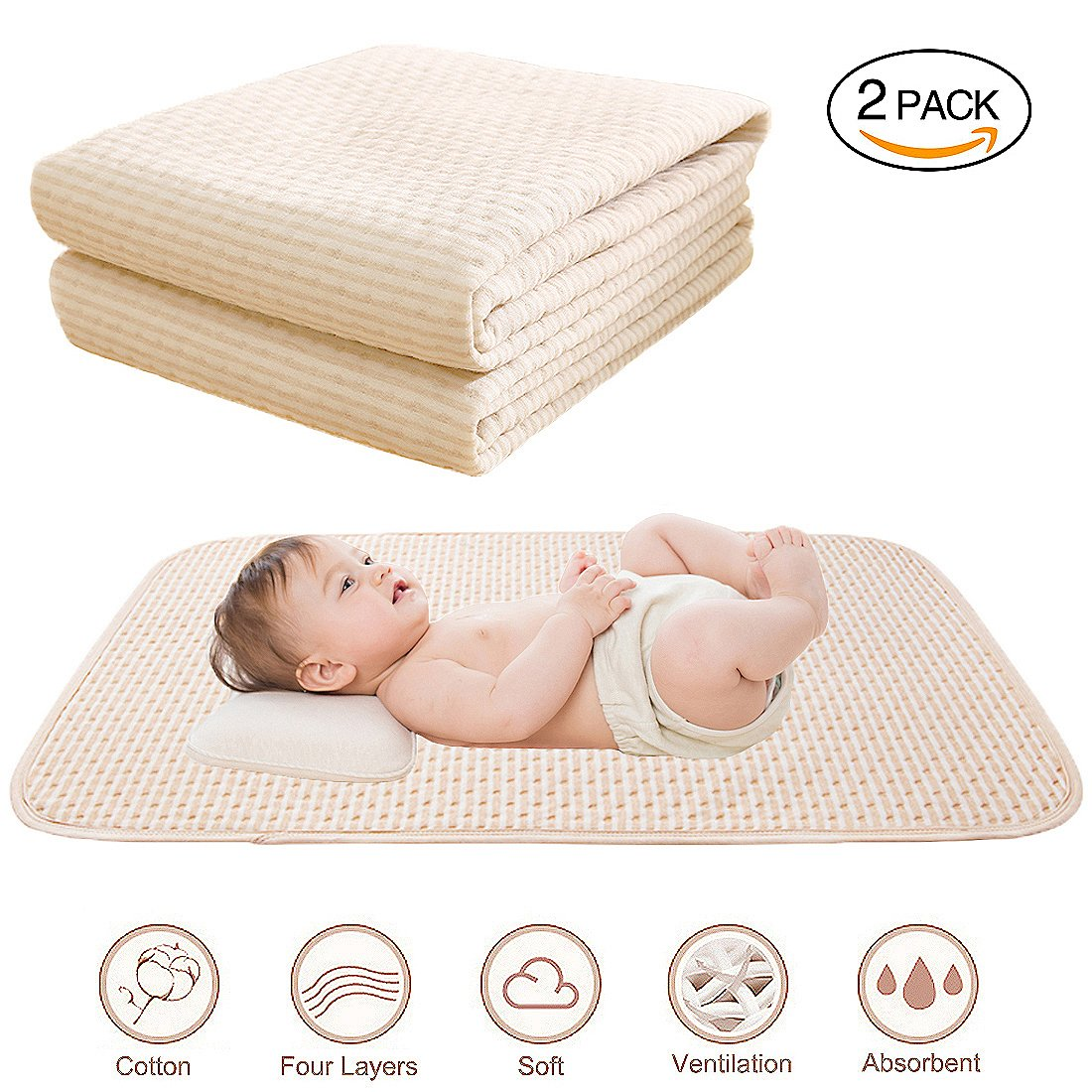 Baby Waterproof Bed Pad Reusable Incontinence Pads Washable Sheets Organic Cotton 4 Protective Layers Ultra Absorb Mattress Protector for Infants Kids, Size 39.5