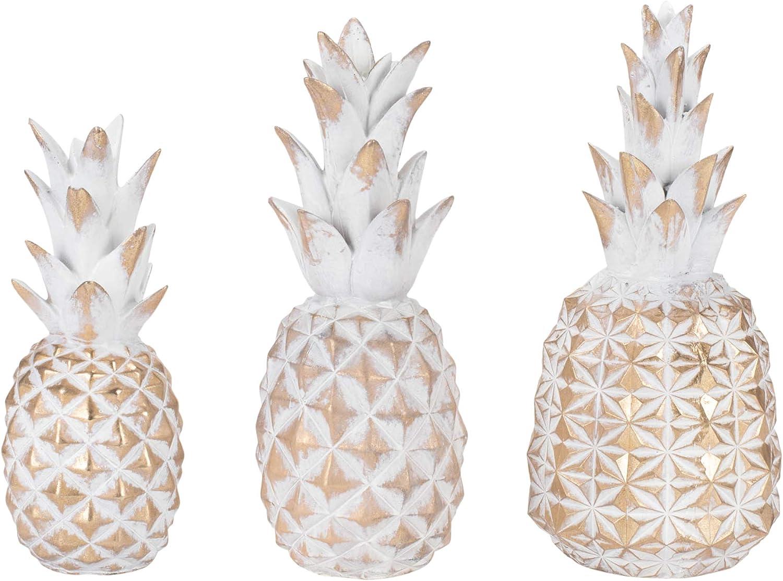 Transpac Distressed Goldtone Pineapple 4.75 x 10.5 Resin Stone Decorative Tabletop Figurine Set 3