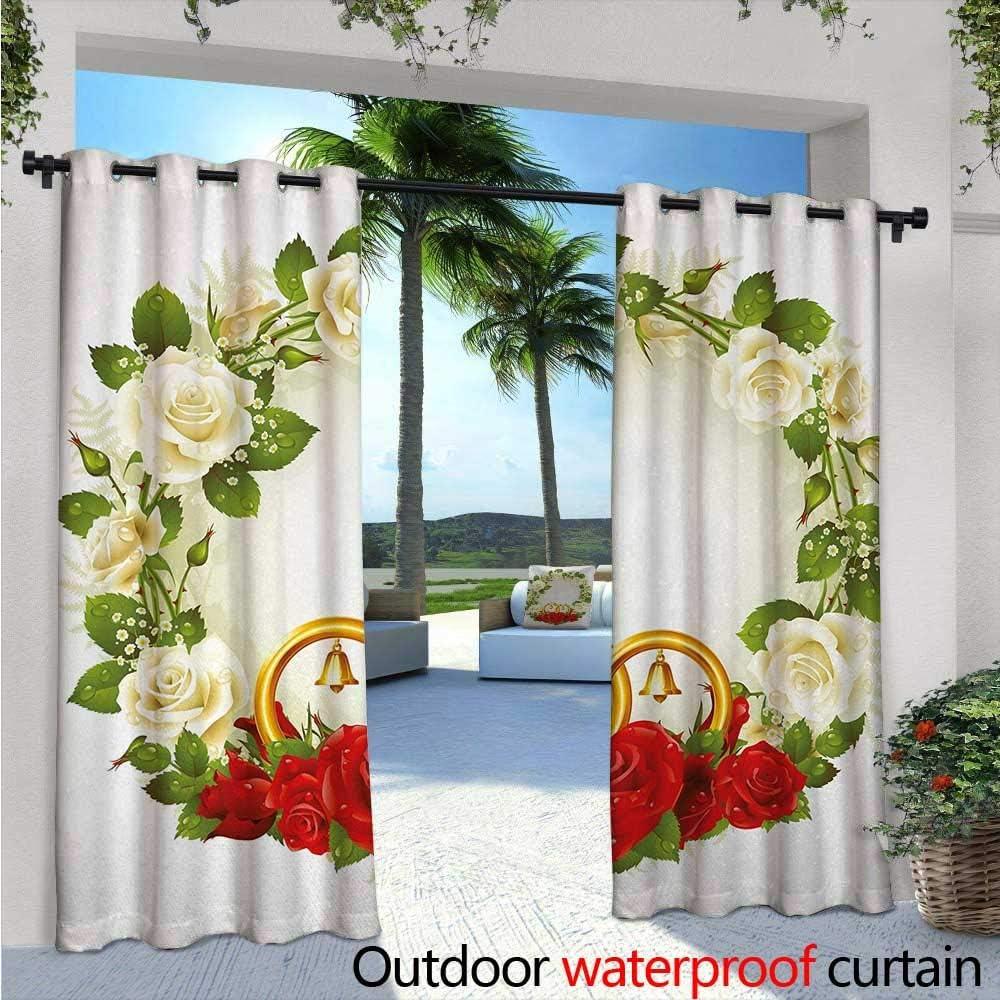 Cortinas de estilo Doodle para patio de boda, composición inspirada en la boda, con celebración de novia, cortina al aire libre para patio, patio al aire libre, 108 x L84, color azul