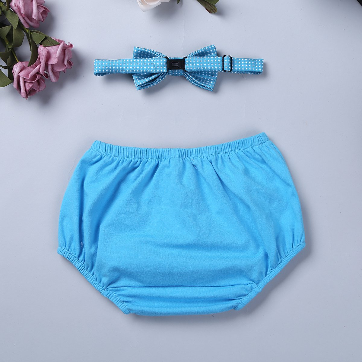 Agoky Baby Boys Cake Smash Outfit First 1st Birthday Party Bloomers Bow Tie FXD10046902-10046901-US