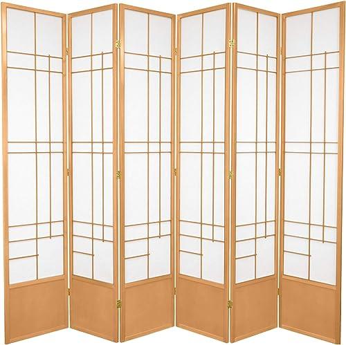 Oriental Furniture 7 ft. Tall Eudes Shoji Screen – Natural – 6 Panels