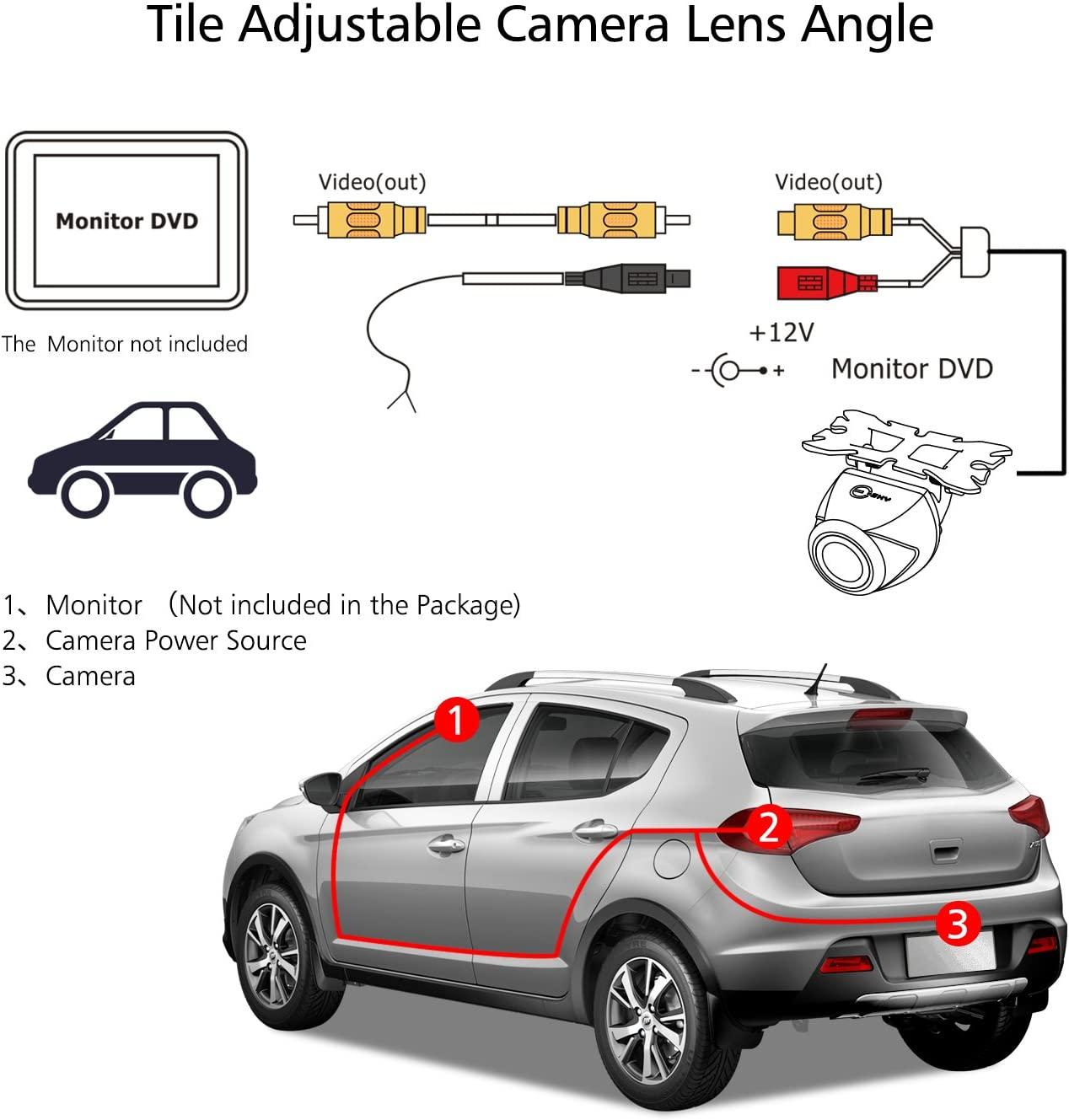 Backup Camera,Esky Mini HD Color CMOS Waterproof 170 Degree Viewing Angle Rearview Camera Car Reversing Rear View//Side View//Front View Security Pinhole Spy Camera--Optional Guideline YES//NO