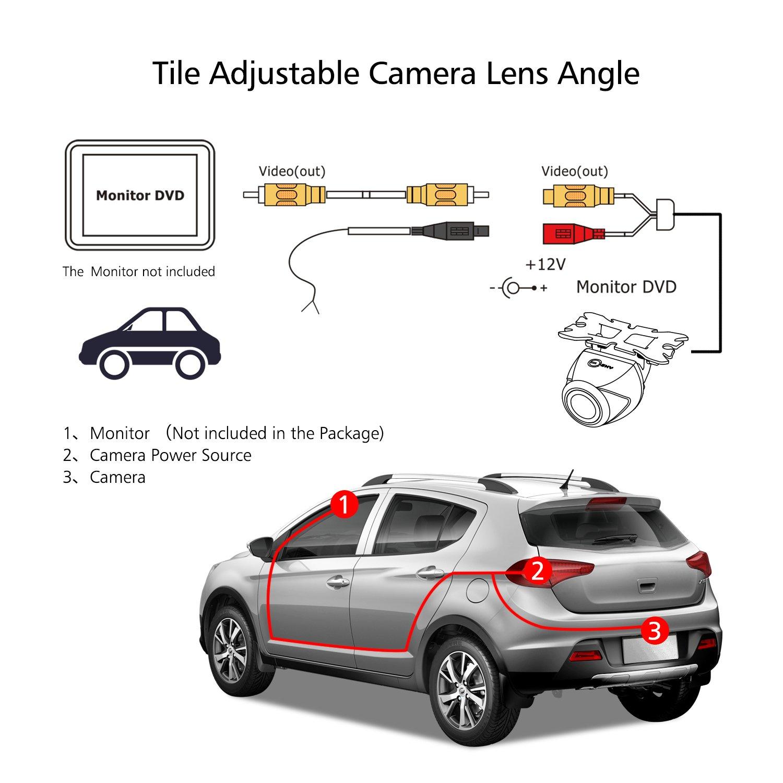 Backup Camera Esky Waterproof Starlight Night Vision HD CMOS 170/° Viewing Field Universal Car Backing Camera