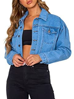 Tsher Womens Oversize Vintage Washed Denim Jacket Long ...