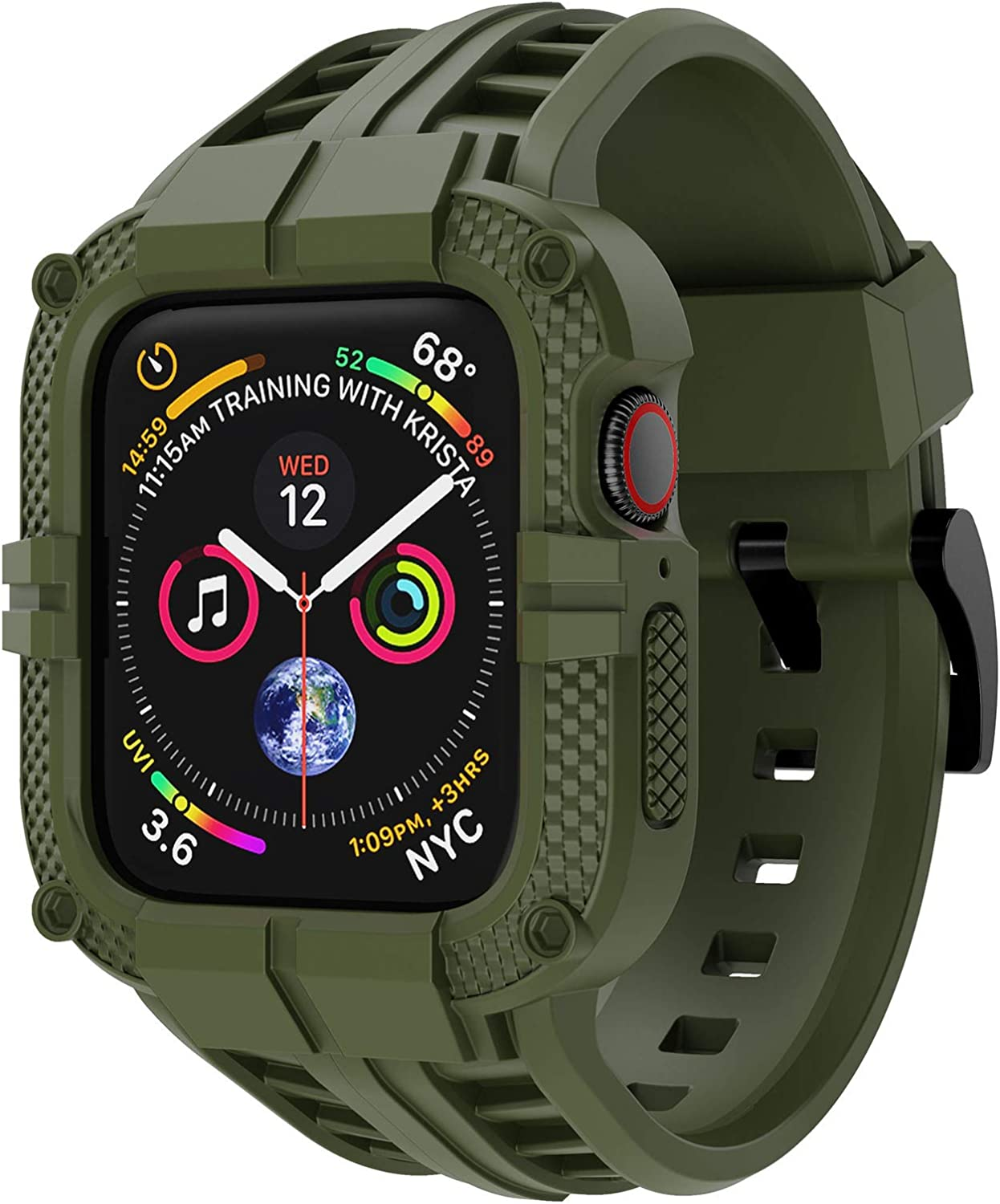 T-ENGINE Band Compatible with Apple Watch Band 40mm 38mm Series 6 Series 5/4/SE Series 3/2/1, TPU Rugged Band with Full Protection Case for Women/Men, Army Green