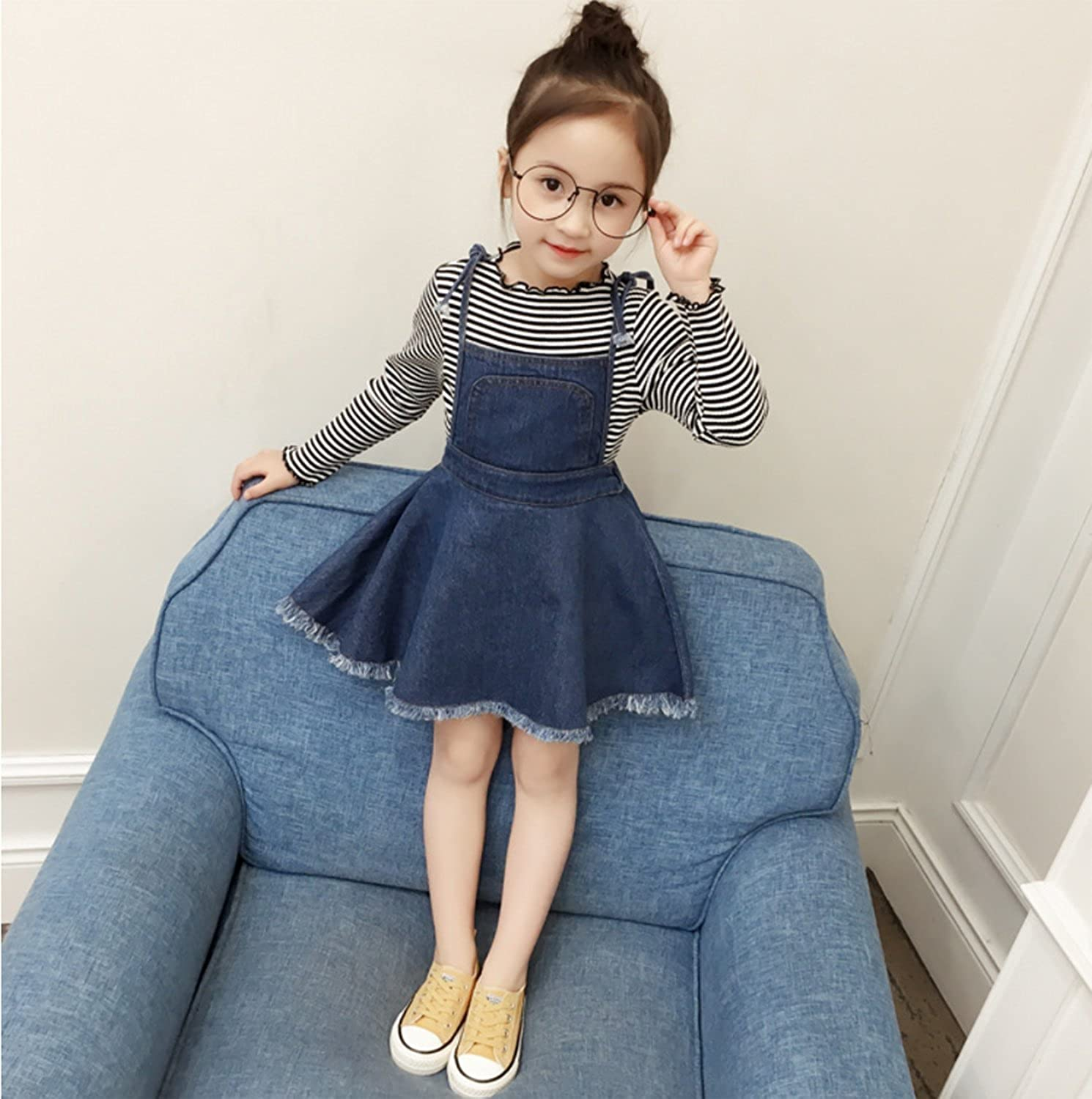 Kids Baby Girls Striped Sweater Long Sleeve Shirt Tops Suspender Tassel Denim Tutu Skirt Set