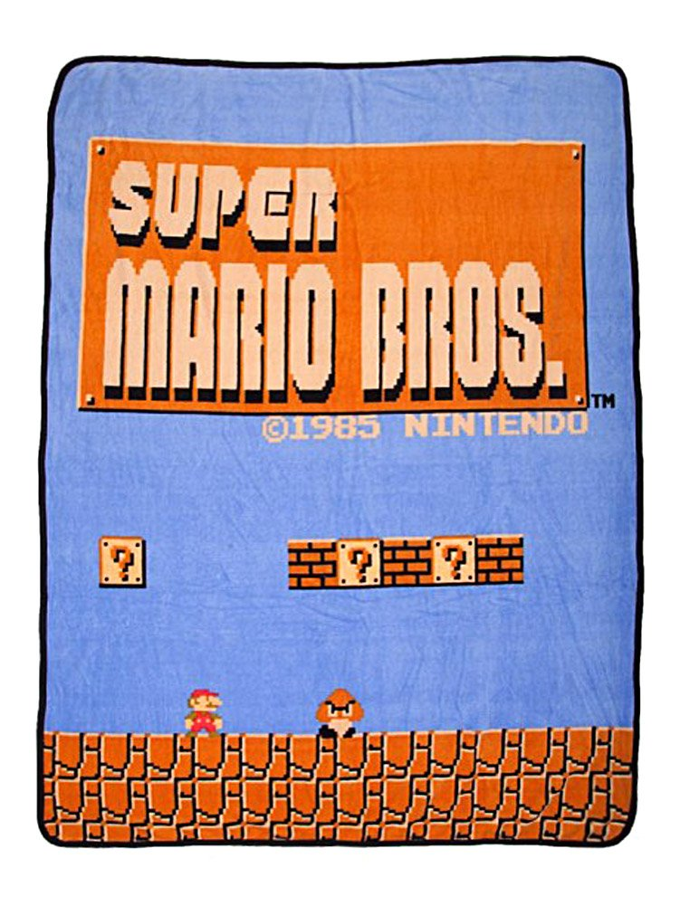 Bioworld Nintendo Super Mario Bros Retro Fleece Throw Blanket, 48'' x 60''