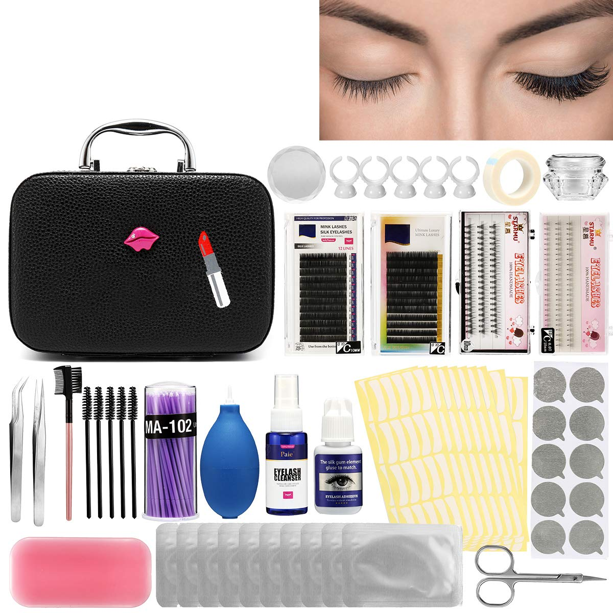 Luckyfine Pro 22pcs Eyelash Extension Kits False Lashes Tool Curl Glue With Cosmetic Case For Makeup Practice Eye Lashes Graft, Lash Starter Kit, Eyelashes Extension Practice Set