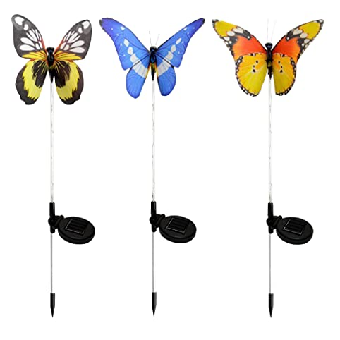 Gentil Colorful Butterfly Lights, Outdoor Solar LED Lights, Solar Powered Purple  Stake Lights, Color