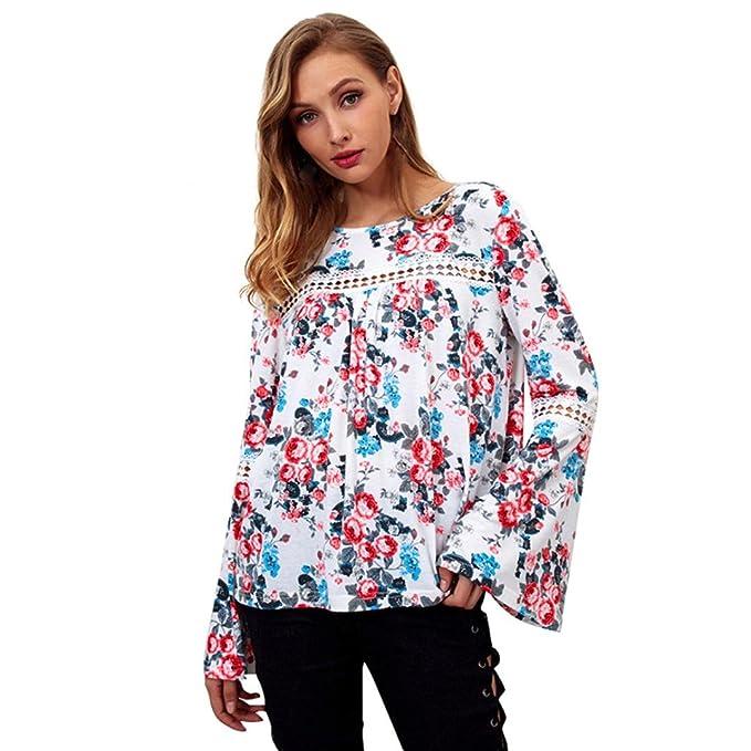 Yvelands Moda Femenina Hermosa Ocasional Blusa de Manga Larga de la Llamarada Camisa de Estampado de Flores O-Cuello Ahueca hacia Fuera la Camiseta de la ...