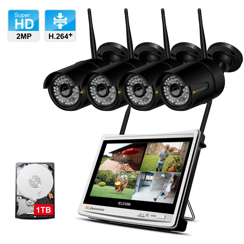 IP66 Etanche Jennov 1080P HD kit de Cam/éra S/écurit/é sans Fil 4CH WiFi NVR avec 4pcs Cam/éra IP Ext/érieure Syst/ème de Vid/éo Surveillance WiFi avec 12 Pouces LCD Moniteur 1TB Disque Dur Inclus