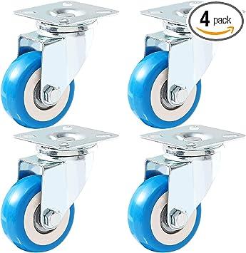Online Best Service 12 Pack Caster Wheels Swivel Plate Casters On Blue Polyurethane Wheels PU