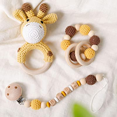 Natural Crochet Baby Teether Toy 3Pieces/Set Cute Crochet Giraffe Rattle Toy Organic Crochet Beads Teething Bracelet with Wooden Rings Silicone Beads Pacifier Clip Montessori: Toys & Games