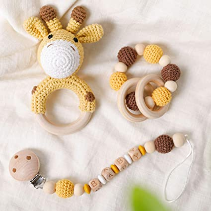 Wooden Baby Teether Bracelet Crochet Beads Teething Ring Infant Toy New T