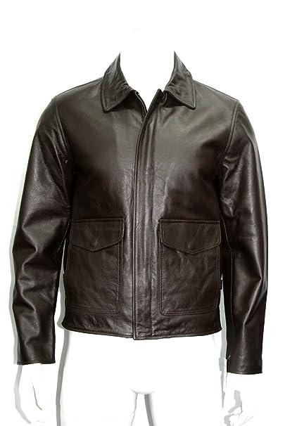 Hombre indiana jones vaca marrón ocultar capa de la chaqueta de cuero real   Amazon.es  Ropa y accesorios 22d3e428efd7