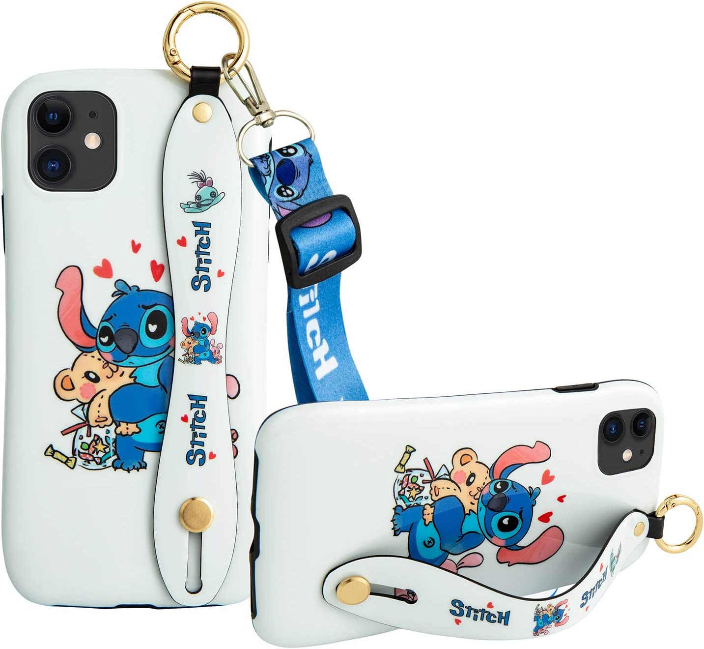 iPhone 11 Case, with Wrist Strap Kickstand Lanyard Full-Body Shockproof Protective Wrist Band, Cute Cartoon Case for iPhone 11 6.1'' (Stitch)