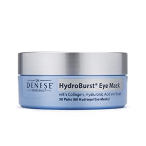 Dr. Denese SkinScience HydroBurst Eye Mask Cooling with Collagen, Hyaluronic Acid, Gold Powder & Hydrolyzed Collagen - Reduce Look of Lines, Wrinkles & Puffiness Around Eyes - Cruelty-Free - 60 Count