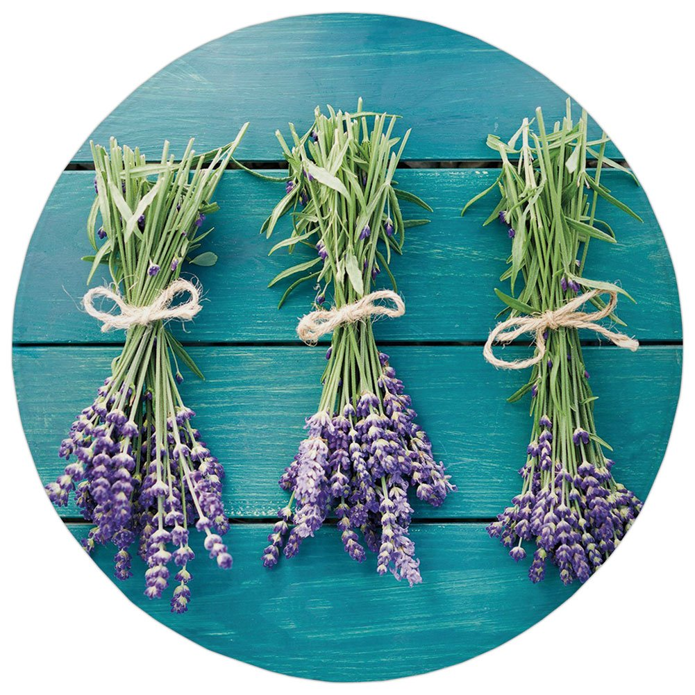 Round Rug Mat Carpet,Lavender,Fresh Lavender Bouquets on Blue Wooden Planks Rustic Relaxing Spa Decorative,Sky Blue Lavender Green,Flannel Microfiber Non-slip Soft Absorbent,for Kitchen Floor Bathroom