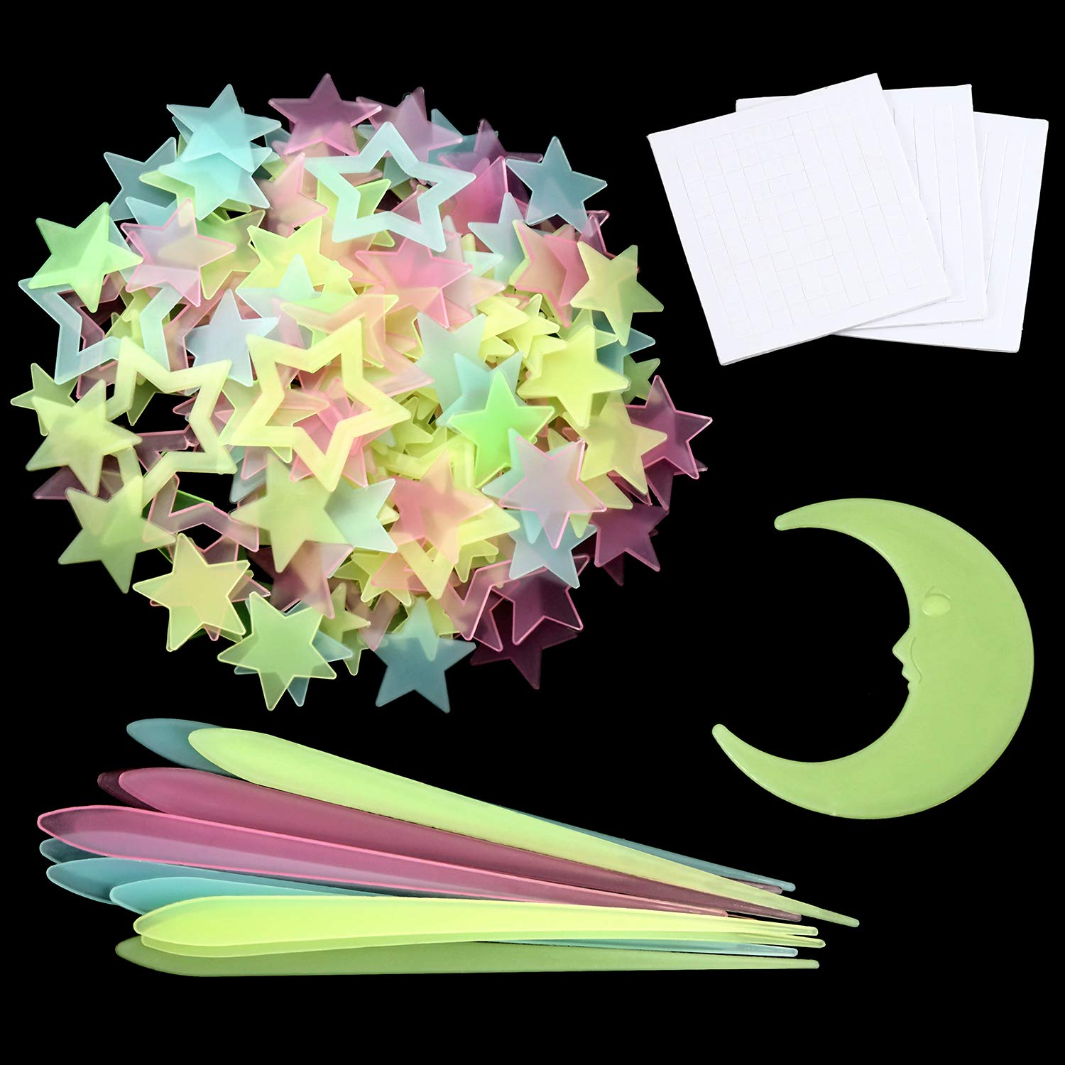 253 Pieces Glow bei Dark Stars Stickers 3D Ceiling Star Decals Stars Meteor und Moon Wall Stickers für Bedroom Ceiling Wall Decorations