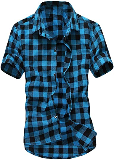 TWBB Enrejado de Manga Corta para Hombre Cuadros Cuadros de Gran tamaño Camiseta Informal