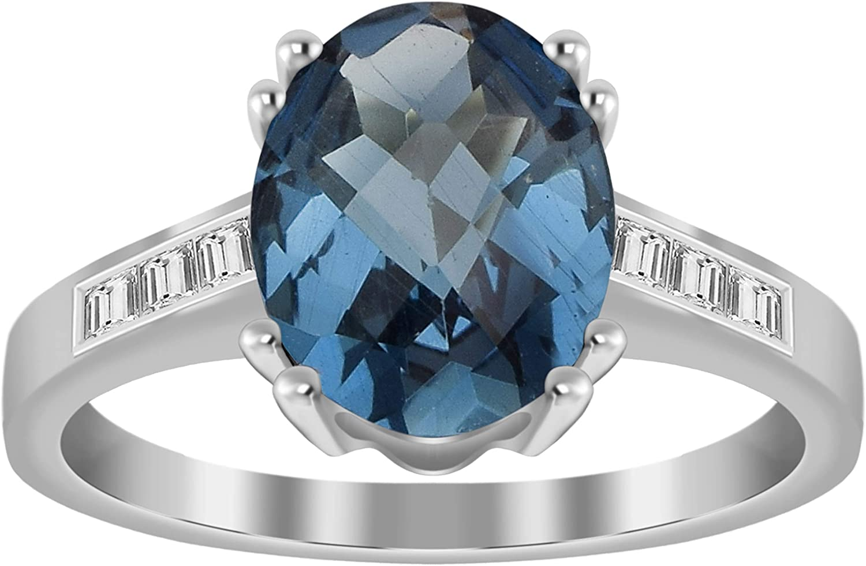 Solitario Plata de ley 925 Londres Topacio azul 3.00 Ct Anillo de promesa de piedras preciosas