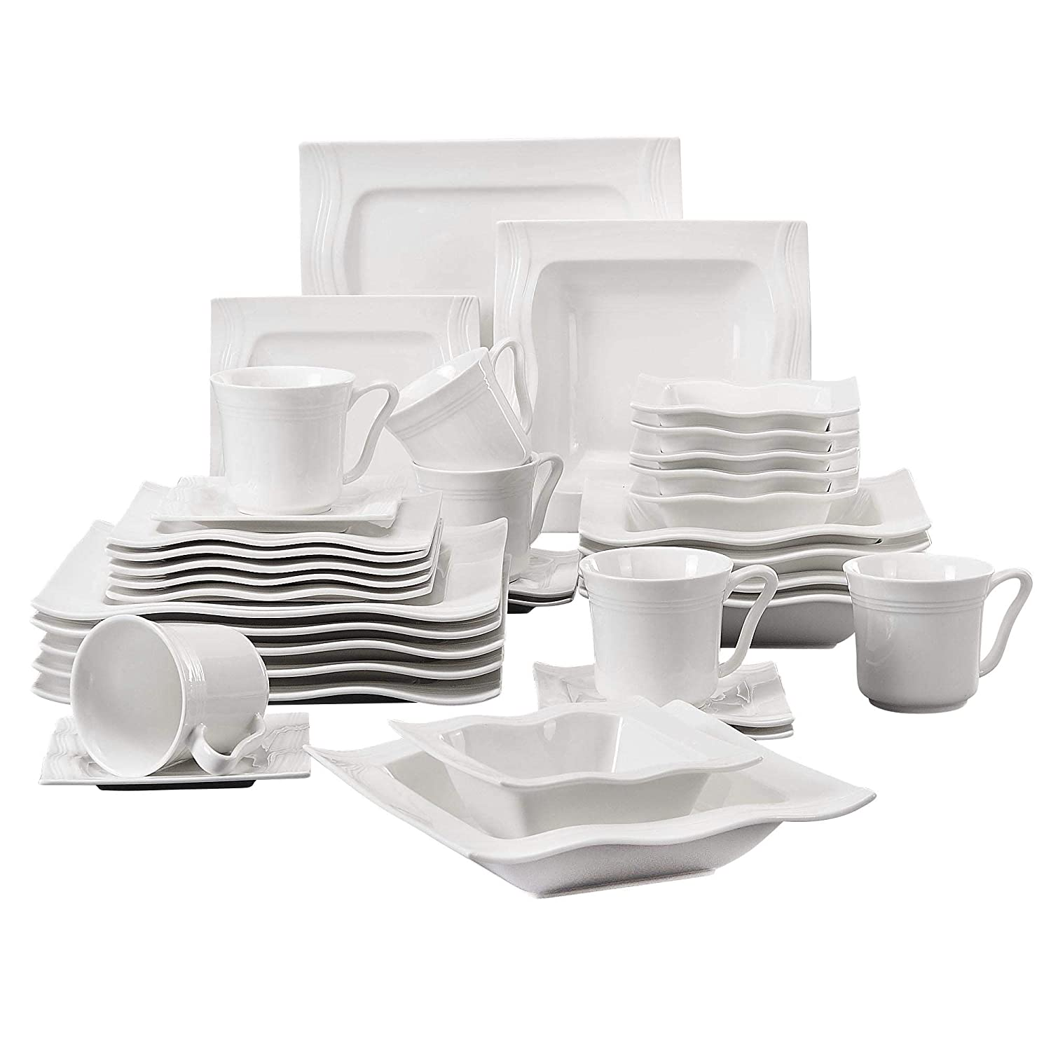 Malacasa, Series Mario, 28-Piece Cream White Porcelain China Dinner Set with 6-Piece Bowls 6-Piece Dessert Plates 6-Piece Soup Plates 6-Piece Dinner Plates One Pair Salt Shaker Set 2-Piece Rectangular Plates Service Set for 6